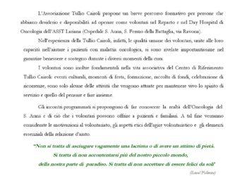 CORSO DI FORMAZIONE PER VOLONTARI IN AMBITO ONCOLOGICO